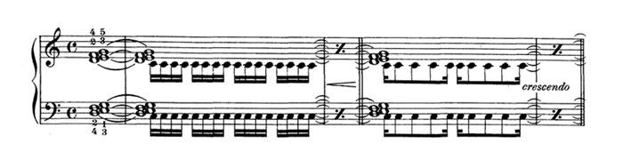notas tenidas en el piano