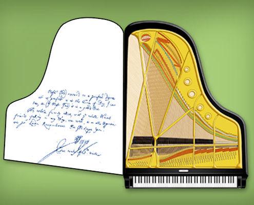 Carte de vœux piano à queue